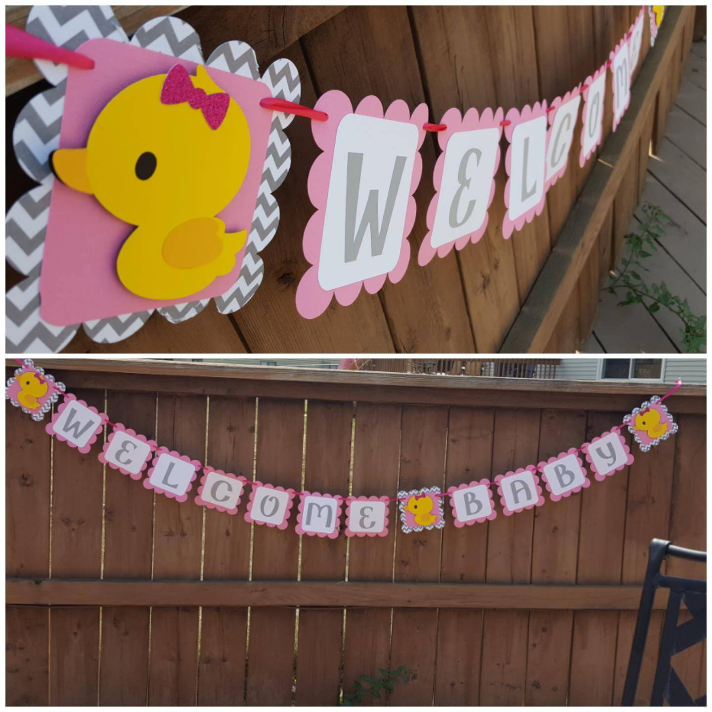 Welcome Baby Duckie themed Banner, Rubber Duck Babyshower Banner ...