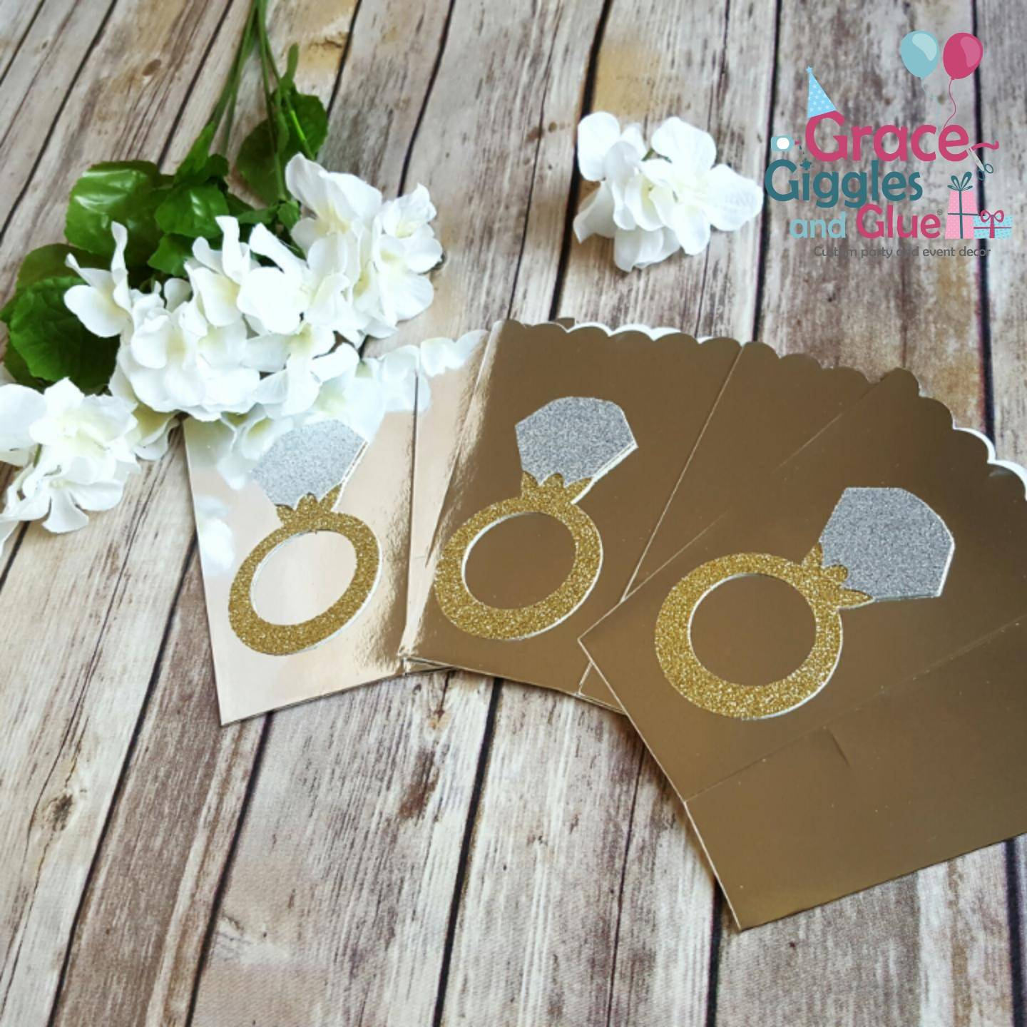 10 gold or silver glitter diamond ring themed favor boxes bridal shower
