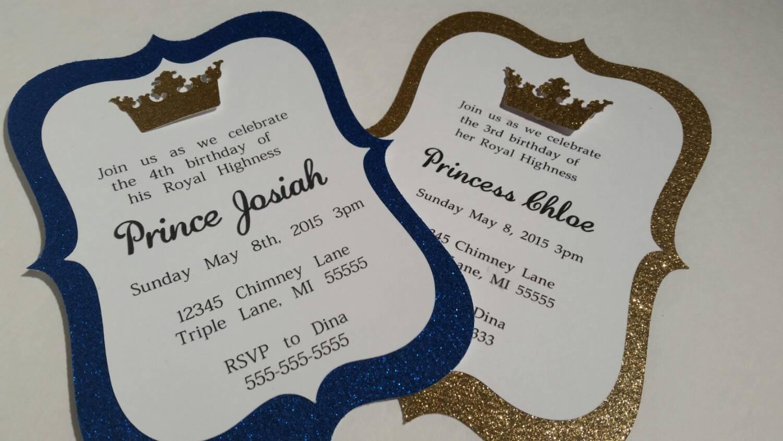 10 Gold Royal Blue Prince Or Princess Invitations Royalty