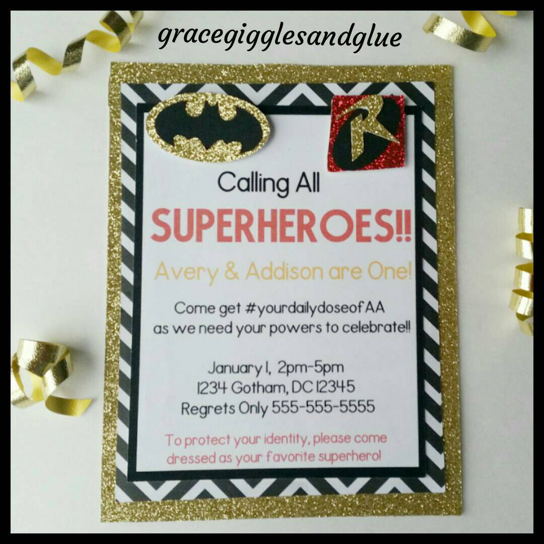 12 Glitter Batman Invitations, Batman and Robin Invitation, Twin ...