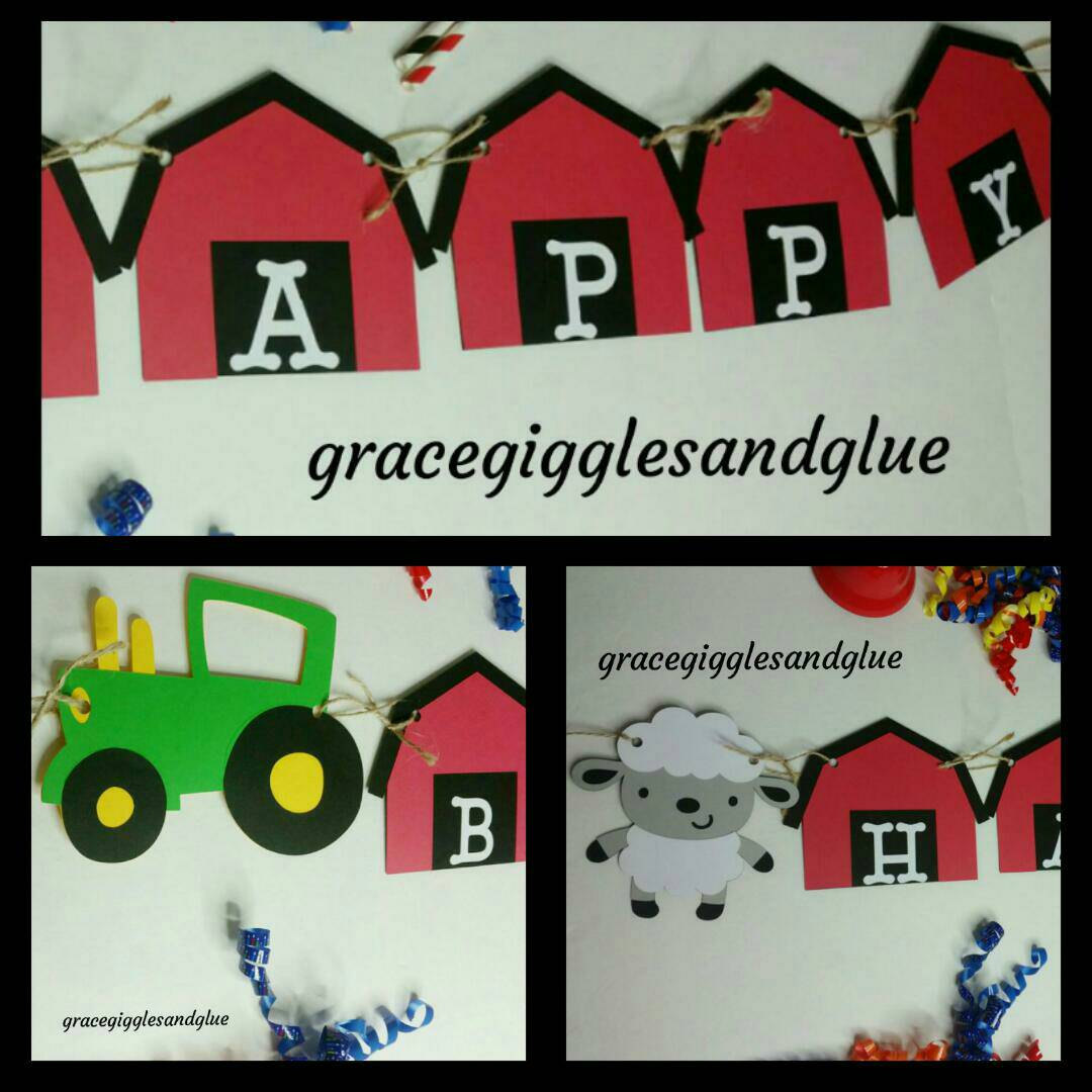 farm party happy birthday banner name farm banner baby shower