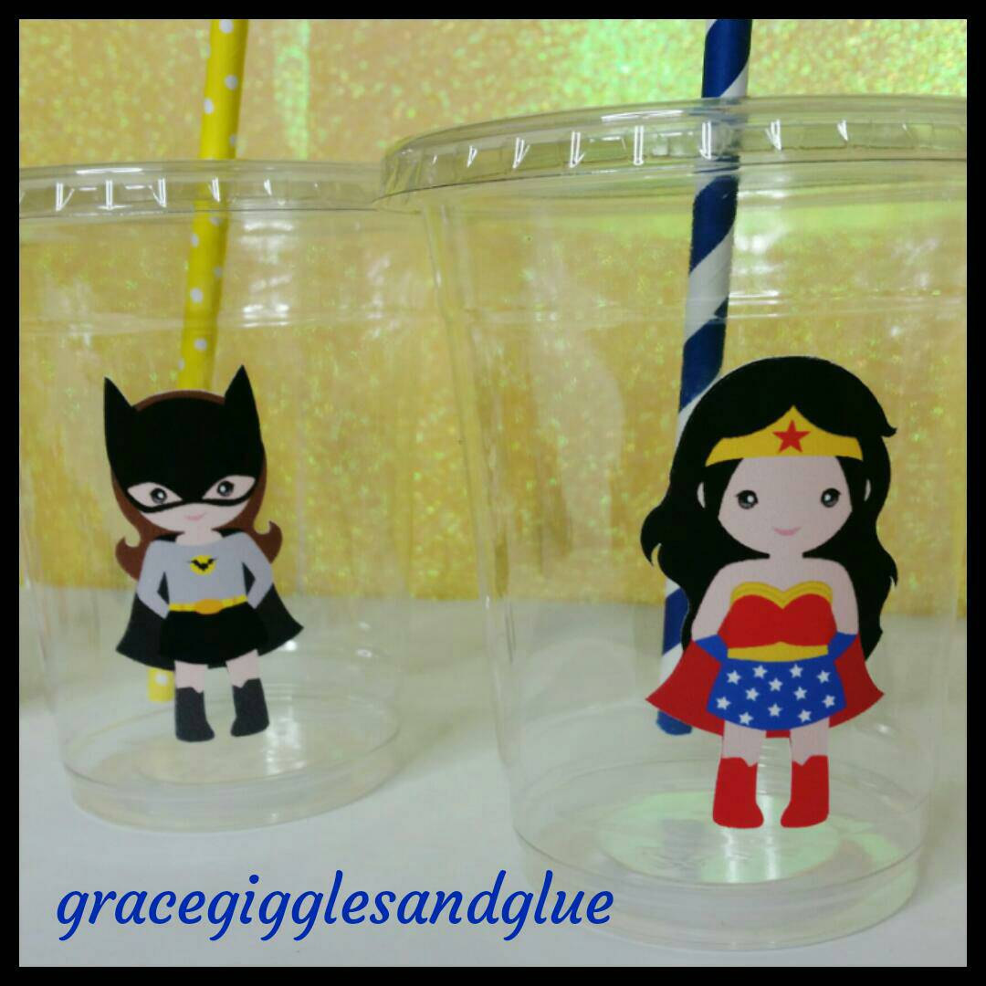 12 Girl Superhero Themed Party Cups With Striped Straws And Lids Marvel Hero Plastic