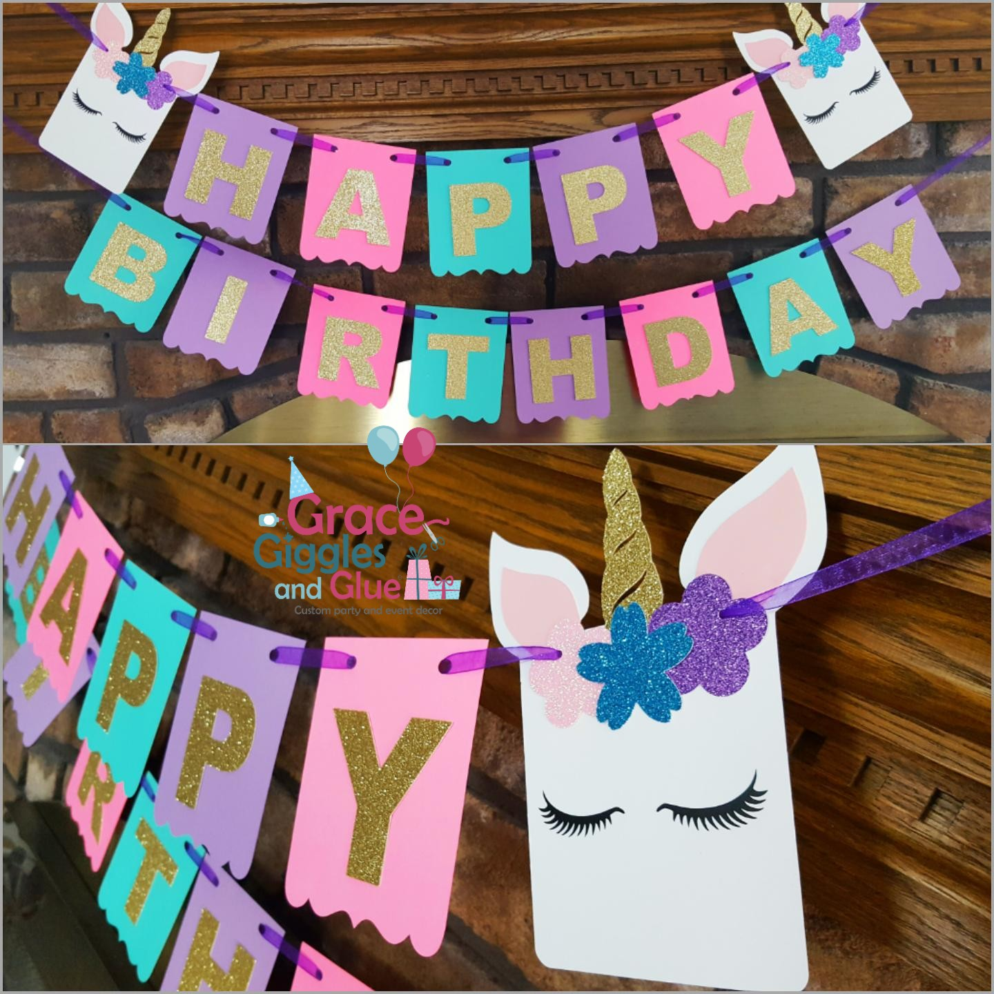unicorn themed name happy birthday banner grace giggles and glue