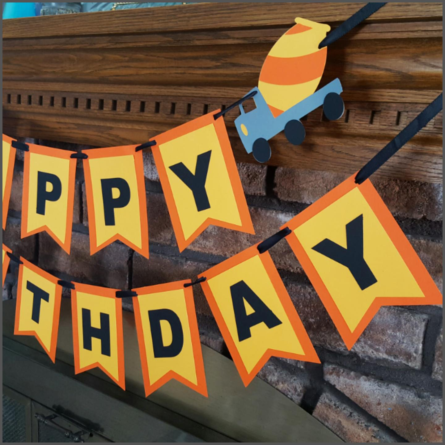 Construction Themed Happy Birthday Banner